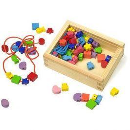 Dřevěné navlékací korálky v krabičce