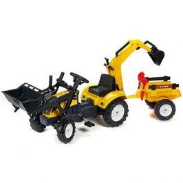 Traktor žlutý s přední a zadní lžící