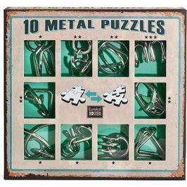 Sada 10 hlavolamů kov zelená
