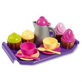 Kávová souprava s konvičkou a dortíky na podnosu