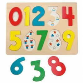 Woody Puzzle na desce - Číslice s beruškami