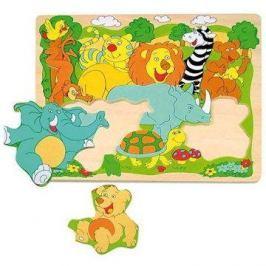 Woody Puzzle na desce - Veselá africká zvířátka