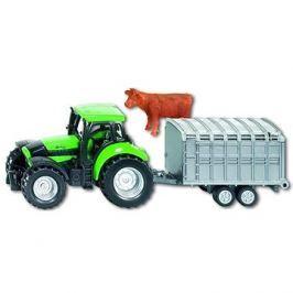 Siku Blister – Deutz Agrotron s přívěsem na přepravu dobytka
