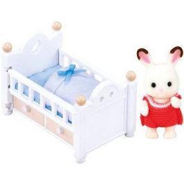 Sylvanian Families Nábytek chocolate králíků – baby králík v postýlce Sylvanian families