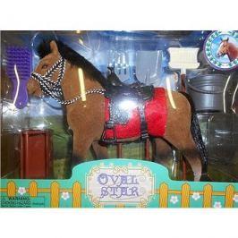 Kůň 18 cm s příslušenstvím hnědo-černý