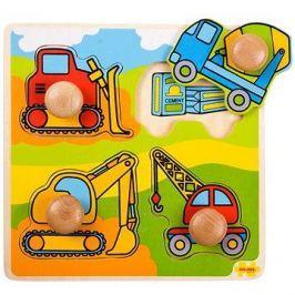 Dřevěné vkládací puzzle - Stavební stroje