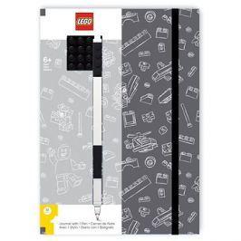 LEGO Stationery Zápisník A5 s černým perem - šedý, černá destička 4x4