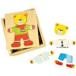 Dřevěné oblékací puzzle v krabičce - Pan Medvěd