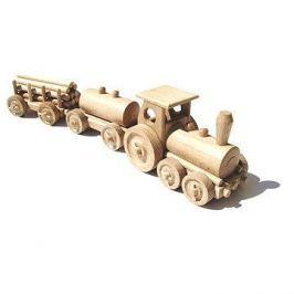 Dřevěný přírodní vláček - Nákladní vlak