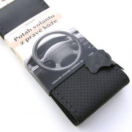 Kožený potah na volant - černý-perforovaný, A (36,5-39 cm)