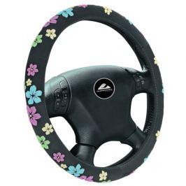 Potah volantu s květy (černý)