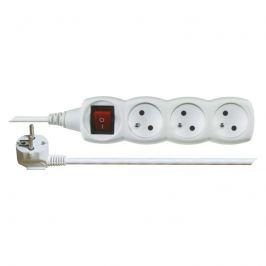 Prodlužovací kabel bílý 3x1mm 3 zásuvky s vypínačem 5m