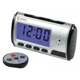 Digitální stolní hodiny s budíkem a kamerou könig sas-dvrdcd10