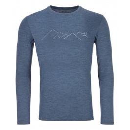 Pánské triko Ortovox 185 Merino Mountain Ls M Velikost: XL / Barva: modrá