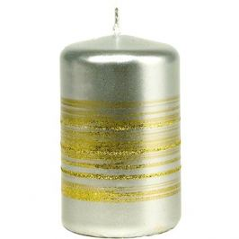 Proužek glitr Válec 55x90 stříbrná svíčka