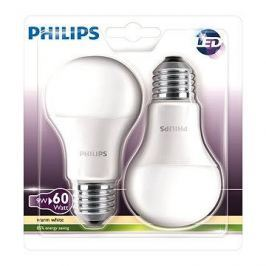 Philips LED 9-60W E27, 2700K, Mléčná, set 2ks