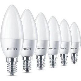 Philips LED Svíčka 5.5-40W, E14, 2700K, matná, set 6ks LED žárovky