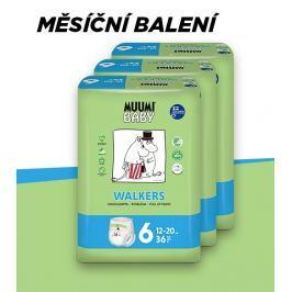 Muumi Baby Walkers Junior 12-20 kg, vel. 6, měsíční balení eko plenkových kalhotek, 3x36 ks