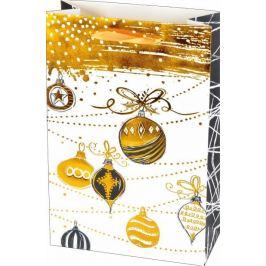 Vánoční dárková taška s vánočními ozdobami, velikost L – zlatá