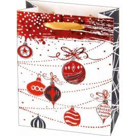 Vánoční dárková taška s vánočními ozdobami, velikost M – červená