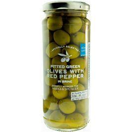 Marks & Spencer Zelené olivy odrůdy Hojiblanca plněné pastou z červené papriky, naložené ve slaném nálevu
