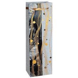 Taška na víno, lesklý papír, bílá s motivem 12x9x35cm, 1ks