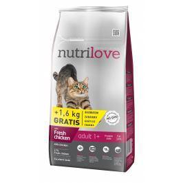 Nutrilove cat dry ADULT fresh chicken granule pro dospělé kočky 8+1,6kg ZDARMA