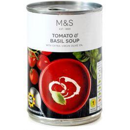Marks & Spencer Rajčatová polévka s bazalkou a extra panenským olivový olejem (0,5%)