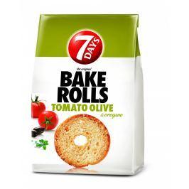 7Days Bake Rolls Křupavé chlebové chipsy s příchutí rajčat a oliv