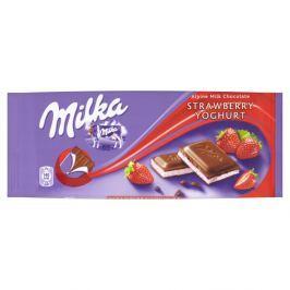 Milka Mléčná čokoláda z alpského mléka s náplní s jahodovo-jogurtovou příchutí