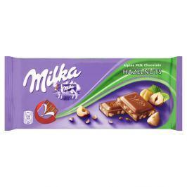 Milka Mléčná čokoláda z alpského mléka s drcenými jádry lískových ořechů