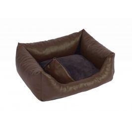 Koženkový pelíšek pro psy Exclusive hnědá 45x55