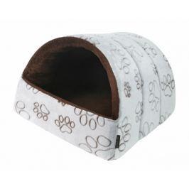 Domeček pro psy a kočky Kukaň bílý s hnědými tlapkami 38x48
