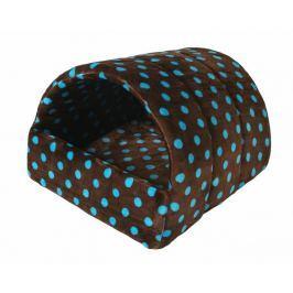 Pelíšek pro psy Kukaň hnědá s modrými puntíky 38x48