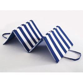 2x plážové skládací lehátko Modrobílé pruhy 145x53x2
