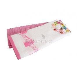Set dvou bavlněných kuchyňských utěrek Noty růžová 40x60 cm