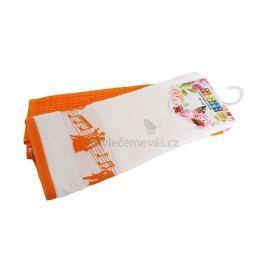 Bavlněné kuchyňské utěrky Noty oranžová 40x60 cm