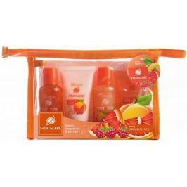 Idc Institute Fruit & Care Peach, Grapefruit & Berries Cestovní set sprchový gel 70 ml + šampon 70 ml + tělové mléko 50 ml + peeling 50 ml + etue, kosmetická sada