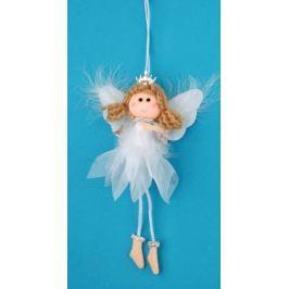 Anděl bílý s peřím, korunkou a hvězdou na zavěšení č.1 19 cm