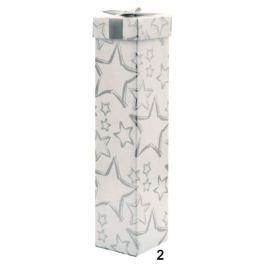 Anděl Dárková krabička skládací s mašlí na lahev vánoční bílá stříbrné hvězdy 34 x 8 x 8 cm