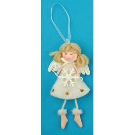Anděl plyšový smetanový s nožkama vločka na zavěšení 14 cm