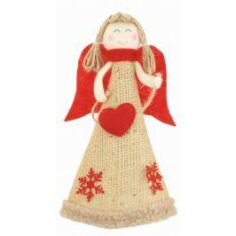 Anděl jutový s červenými křídly srdce na postavení 19 cm