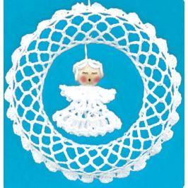 Háčkovaný věnec s andělem 15 cm
