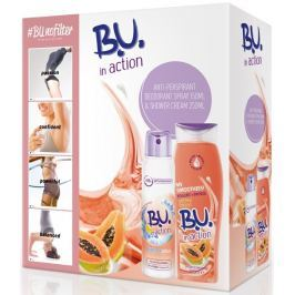 B.U. In Action Protect Plus antiperspirant deodorant sprej pro ženy 150 ml + In Action Yogurt + Papaya sprchový gel 250 ml, kosmetická sada