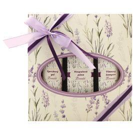 Bohemia Gifts & Cosmetics Lavender koupelová lázeň 250 ml + sprchový gel 200 ml + vlasový šampon 200 ml, kosmetická sada
