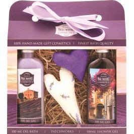 Bohemia Gifts & Cosmetics Lavender La Provence sprchový gel 100 ml + Olejová lázeň 100 ml + patchwork 2 kusy, kosmetická sada Kosmetické sady