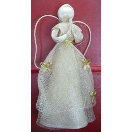 Anděl se zlatými mašličkami na sukni 30 cm