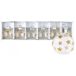 Baňky skleněné se zlatými hvězdami sada 4 cm 6 kusů