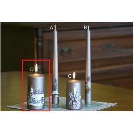 Lima Relief zimní svíčka metal světle hnědá válec 60 x 120 mm 1 kus