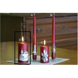 Lima Relief zimní svíčka metal vínová válec 60 x 120 mm 1 kus